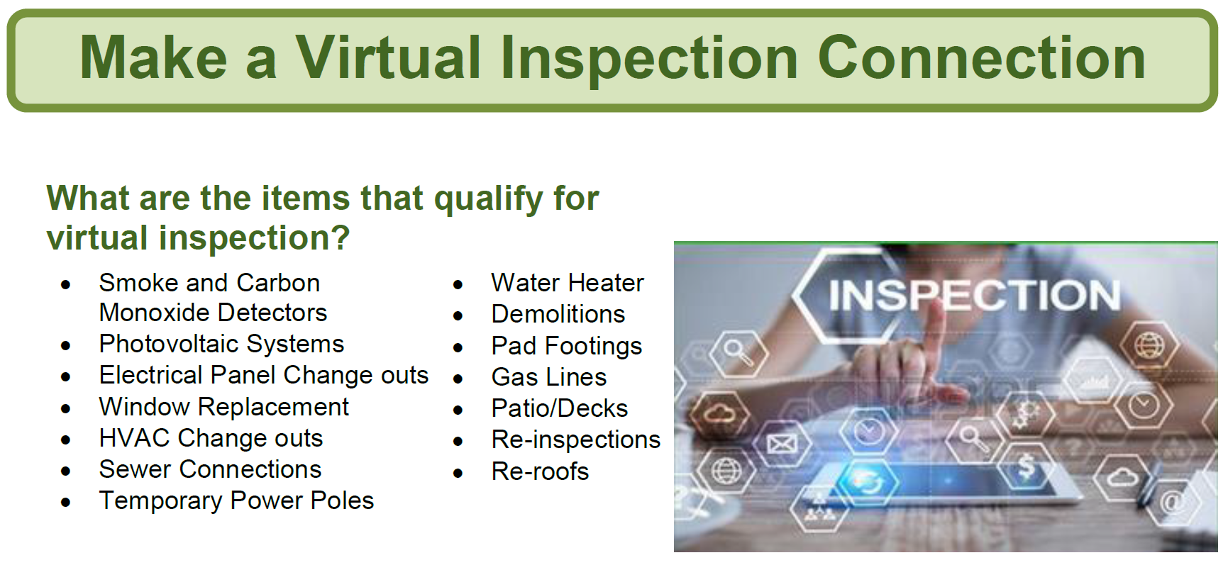 Virtual Inspection Connection Image Opens in new window